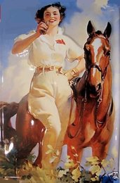 Wholesale Coca Cola Girl and Horse Pure Handpainted Animail Portrait Art Oil Painting On canvas customized size asch