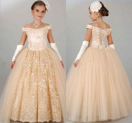Wholesale 2017 Princess Champagne Lace Flower Girls Dresses For Wedding Off Shoulder Ball Gowns Long First Communion Dress Party Pageant Gowns Cheap