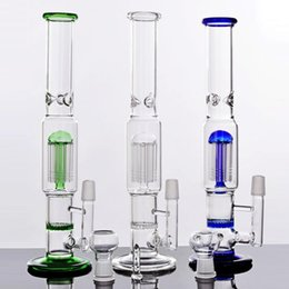 Fashion Mobius Straight Glass Bongs Two Function Honeycomb&Tree Percolators Oil Rigs Water Pipes Tall 29 cm Joint 18.8mm 3 Colors Hookahs