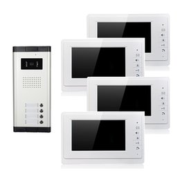 Wholesale wired video door phone with4 buttons and screens infrared night vision inch apartments doorbell
