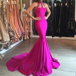 Mermaid Modest Fuchsia Prom Party Dress 2017 Sleeveless High Neck Lace Lppliques Zipper Sweep Train Evening Gowns