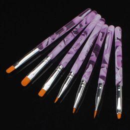 7pcs / Set DIY Professional Nail Art Brush Design Peinture Outil Stylo Pinceau Polonais Gel Gel UV Nail Print Brushes Kit brushes 7pcs deals à partir de brosses 7pcs fournisseurs