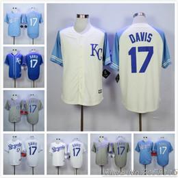 2016 Majestic #17 Wade Davis Jersey White Home Gray Road Blue Cream Baseball Jerseys free shipping