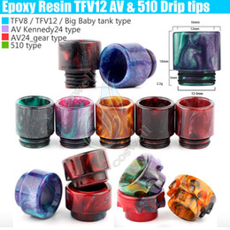 Wholesale Top Epoxy Resin Drip tips Wide Bore dripper tip Mouthpiece Smok TFV8 TFV12 Big Baby Tank Kennedy AV24 RBA atomizer ecig Mod RDA Tips DHL