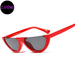 Z F Fashion Cat Eye Style Half Rimless Frame Sunglasses Women Brand Design Gradient Sun Glasses UV400 97370