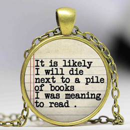 Wholesale Steampunk Book Lovers Quote Charm Necklace for Readers Gift Librarian Gift book chain