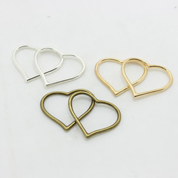Sweet Bell Min order 50pcs Three color Heart Charm Jewelry Findings 22*28mm Vintage Style Jewelry Making D0848
