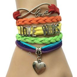 Wholesale Personalized Rainbow Suede Velvet Leather Handmade Infinity Love Word LOVE WINS Heart Charm Bracelet Colorful Bracelets Bangle