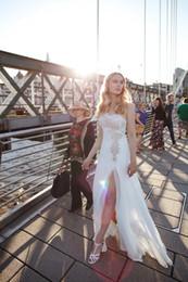 Wholesale Riki Dalal summer wedding dress one capped short sleeve beaded grid shape vestidos de novia side split tulle bridal wedding gown