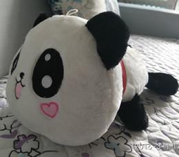 Oreillers panda en peluche en Ligne-Grossiste-Giant Panda oreiller Peluches Jouets 45cm = 17,7 pouces panda jouets en peluche jouets Poupée de Saint-Valentin Gift Kids Gift, livraison gratuite