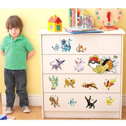 Wholesale 9 Styles to Choose Cute Poke Go Wall Stickers for Kids Rooms Home Decorations Pikachu Wall Decal Amination Poster Wall Art Wallpaper Kids