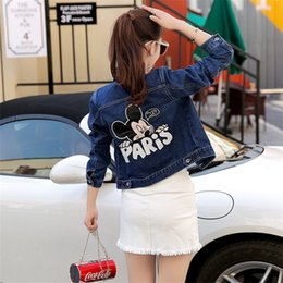 New Fashion Women Jackets Denim Coat Slim Short Cartoon Mouse Print Ladies Outwear Vintage Cardigans Denim Jacket Plus Sizs