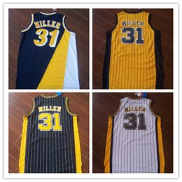 Hot sale !Wholesale high quality retro Reggie Miller jersey 100% Stitched logo throwback Miller basketball jerseys free shipping Mix Order