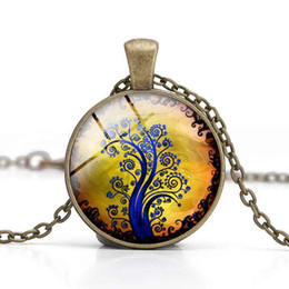 Tree of Life Pendant Necklaces Glass Cabochon Yellow Purple Time Gemstone Alloy Jewelry Women Charm Clothes Accessory Girl Gifts Wholesale