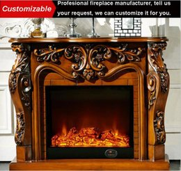 Wholesale Luxury TV Cabinet Eletric Fireplace Lifelike Flame Metal Heating Furnace Core Home Decor Mantel Fireplace