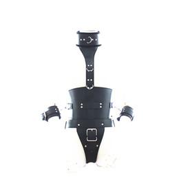 Adjustable collar waist arm bondage appearl leather harness fetish breasts uncovered lingerie restraint strap games SM kinky