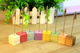 Fast delivery Creative Decoration 5pcs lot Forest series Simple Woody Color blocks stickers Photo clip Place Card Holder
