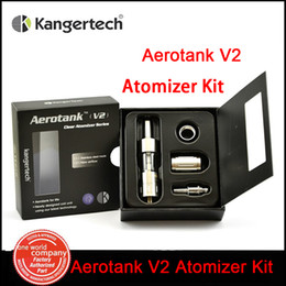 Promotion verre kanger aerotank Vente en gros 100% Original Kanger Aerotank v2 Atomizer Airflow réglable 2.5ML pyrex glass Dual Coil Clearomizer E-Cigarette (5pc MM)