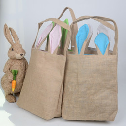 Wholesale Fashion Cute Cotton And Linen Easter Bunny Ears Basket Bag For Easter Gift Packing Easter Handbag For Child Fine Festival Gift DHL free