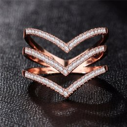 New Fashion Female Wedding Ring for Women Bands Jewelry Rose Gold Color Engagement CZ Stone Paved Promise Love Rings