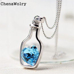 Wholesale ChenaWolry PC Fashion necklaces Attractive Luxury New Women Ladies Fashion Popular Crystal Necklace Love Drift Bottles Oct14