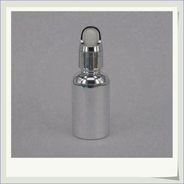 Beautiful 30ml Round Glass Smoke Oil Dropper Bottles Silver Plated Empty Essential Glass Bottles with ChildProof cap Wholesale Free shipping
