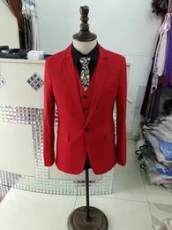 2017 voler v Red Colored Real Real pics Costumes hommes V-Neck manches longues Custom Made hommes tailleur usine Suruimei en Chine voler v ventes