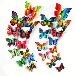 Double Rainbow Series Butterfly Stickers Home Furnishing decoration Butterfly the living room bedroom Butterfly suit free shipping