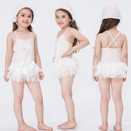 HOT Swan Mesh baby girl swimsuit lace girls swimwear princess pink beach girls bathing suit kids swim suit girl swimming wear