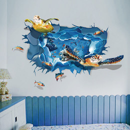 3D three-dimensional wall stickers Sea turtle Stickers Seagull The Incredible Hulk carp Waterproof fresco