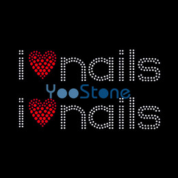 Cheap And Good Quality Two i Love Nails Rhinestone Transfer Designs For Women T-shirt Decoration