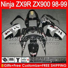 8Gifts 23Colors For KAWASAKI NINJA ZX900 ZX9R 98 99 00 01 900CC Black west 48HM19 ZX-9R ZX 9 R ZX900C ZX 9R 1998 1999 2000 2001 Fairing kit
