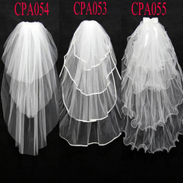 Free Shipping Cheap 3 Layers Tulle Bridal Wedding Veils with Comb New Cut Edges Short Wedding Veils CPA054