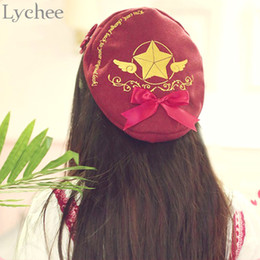 2017 mignon cosplay fille Grossiste-Lolita Japon Anime Captor Carte Sakura Cosplay Beret Chapeau Fille Femmes Clow Card Motif Cute Cap abordable mignon cosplay fille
