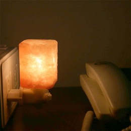 Wholesale Natural Himalayan Salt Night Light Mini Decorative Night Lighting with Air Purifier W E12 Ounce UL Wall Plug Square Form