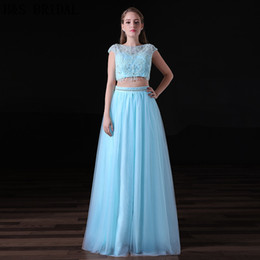 2017 Blue Two Piece Prom Dresses Girls Party Gown Cap Sleeves Beaded 2 Pieces Evening Dresses A001