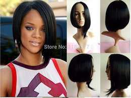 2015 new arrival 13.5'' short black RIHANNA wigs for black women free shipping