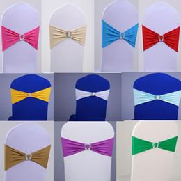 Promotion arcs décorations mariage Lycra Spandex Chaise Housse Atelier Avec Couronne Boucle Stretch Chaise Sash Band Pour Wedding Hotel Party Décoration