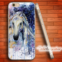 Fundas Watercolor White Horse Soft Clear TPU Case for iPhone 6 6S 7 Plus 5S SE 5 5C 4S 4 Case Silicone Cover.