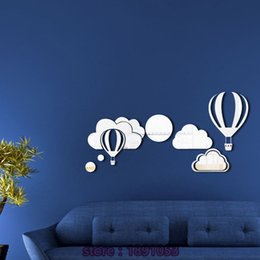 Wholesale 3D hot air balloons and cloud pattern acrylic mirror stickers living room bedroom kids room sofa TV background Mirror stickers