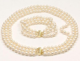 NOBLEST 3 ROW 18-20 INCH AAA 8-9MM WHITE PEARL NECKLACE 14K GOLD CLASP FREE BRACELET
