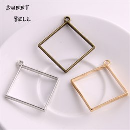 Min order 20pcs 44*48mm Alloy jewelry setting accessories square charms Hollow glue blank pendant tray bezel charms DIY Handmade D6096-1