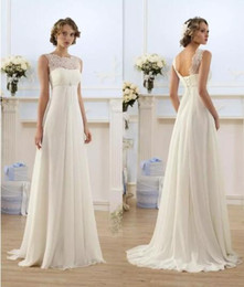 Cheap Lace Chiffon Empire Wedding Dresses 2019 Sheer Neck Capped Sleeve A Line Long Chiffon Wedding Dresses Summer Beach Bridal Gowns