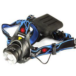 Wholesale CREE XML T6 LM Waterproof LED AA Headlight Headlamp Head Lamp Light Adjust Focus For Bicycle Camping Hiking