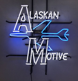 Wholesale White color ALASKAN MOTIVE Custom Company Advertisement Logo Display Neon Sign With Bule Aeroplane Printed on Plastic Board quot X20 quot