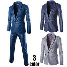 Venta al por mayor- (chaquetas + pantalones) 2016 nuevos trajes de los hombres del solo-botón de la llegada adelgazan el vestido formal formal apto del negocio que se casa Blazer supplier slim formal single button suit desde traje formal de un solo botón delgado proveedores