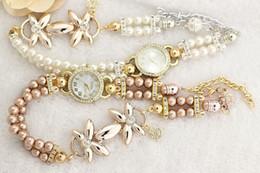 Montres de gros perle à vendre-Montre de mode coréenne tendance créative bracelet de perles de diamants bracelet personnalisé de la mode des femmes montres gros mélange mixte