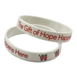 Wholesale 100PCS Lot Printed Logo Decoration Bangle The Gift of Hope Happens Here Silicone Bracelet Promotion Gift