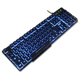 Teclado para juegos de luz de fondo azul en Línea-La mejor calidad K-RAY K6 USB teclado de juego retroiluminado PC USB con cable teclado de juegos, 3 colores Backlight púrpura / rojo / azul 104 teclas - Negro)