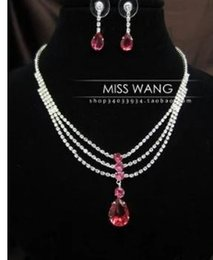 red diamond white crystal chains set necklace earing (0451) gkik